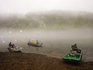 Ready to attack the trout on a foggy White River morning.