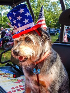 Winnie sports her special July 4 hat at the Independence Day Ceremony hosted by Mountain Harbor Resort.