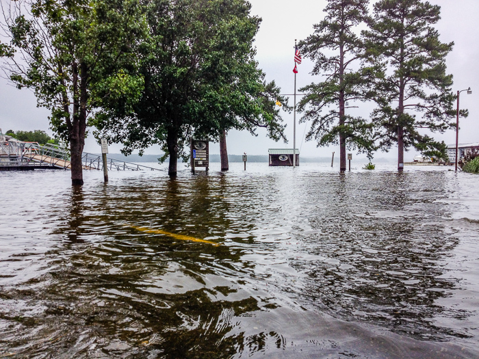 The Mountain Harbor Marina parking lot, the ramp to the Marina Store, and the stage on the point are all under water!<br />(Click on this image to view more High Water photos.)