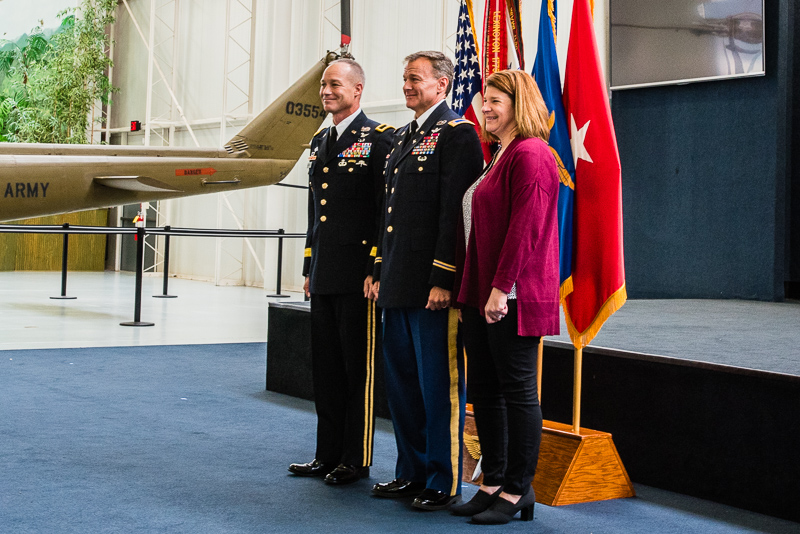 Rob and Amy stand with Brigadier General Paul Bontrager, Rob's Brigade Commander when he served with the 101st Combat Aviation Brigade (The Wings of Destiny)<br />(Click on this image to view photos from the formal retirement ceremony.)